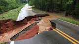 A road that buckled in Troup County
