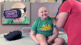 """The headset helps me forget what is around me and what is going on,"" said 9-year-old Ryleigh, who is currently undergoing chemo treatments."