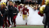 CHESTNUT HILL, MA - OCTOBER 13: Chris Lindstrom #75 of the Boston College Eagles leads the Boston College Eagles out of the tunnel before the game against the Louisville Cardinals at Alumni Stadium. (Photo by Omar Rawlings/Getty Images)