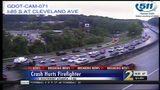 Firefighter injured responding to crash on I-85