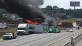 Tractor-trailer fire shuts down all lanes of I-75 in Henry County