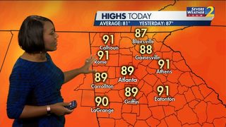 Highs near 90 for Sunday