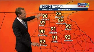 Highs in low 90s possible for Tuesday afternoon
