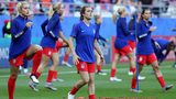 REIMS, FRANCE - JUNE 11: Kelley O'hara of the USA warms up prior to the 2019 FIFA Women's World Cup France group F match between USA and Thailand at Stade Auguste Delaune on June 11, 2019 in Reims, France. (Photo by Robert Cianflone/Getty Images)