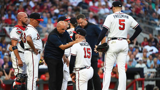 Braves pitcher Sean Newcomb hit on head by liner, exits start