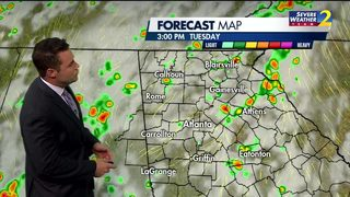More showers, storms ahead Tuesday morning