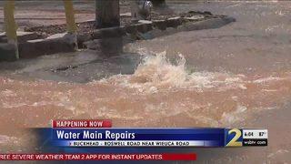 Major water main break sends water gushing into street, snarls traffic