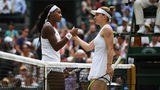 Simona Halep of Romania and Cori Gauff of the United States shake hands at the net following their Ladies' Singles fourth round match against Cori Gauff of the United States. (Photo by Shaun Botterill/Getty Images)