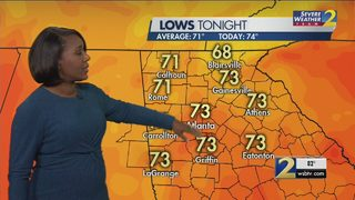 A few clouds, mild temperatures Monday morning
