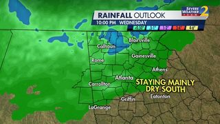 Showers, storms moving into north Georgia; More rain possible later this week