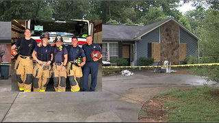 Firefighters pull father, two children, family pets from burning home