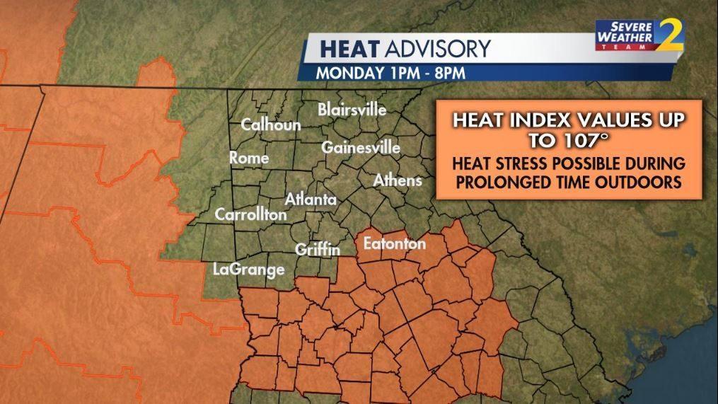HEAT ALERT: Parts of Georgia will be under a Heat Advisory Monday