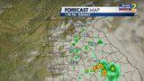 1 p.m. Tuesday forecast map