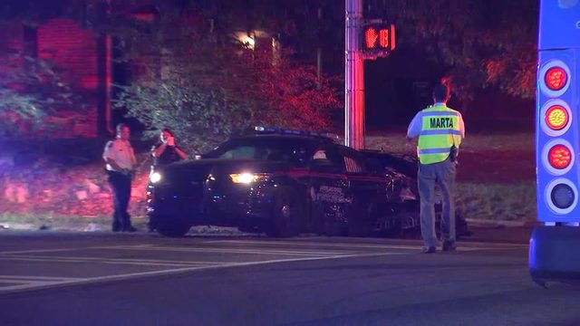 Atlanta police car collides with MARTA bus after officer
