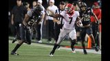 Georgia running back D'Andre Swift picks up yardage against Vanderbilt during the second half in a NCAA college football game on Saturday, August 31, 2019, in Nashville.