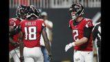 Falcons quarterback Matt Ryan (2) congratulates Atlanta Falcons wide receiver Calvin Ridley (18) after his TD catch.