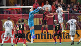 October 19, 2019 Atlanta - Atlanta United goalkeeper Brad Guzan (1) blocks the shot in the first half during the first round of the MLS playoffs at Mercedes-Benz Stadium on Saturday, October 19, 2019. (Hyosub Shin / Hyosub.Shin@ajc.com)