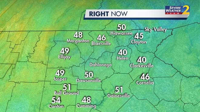 Current Northeast Georgia Temperatures